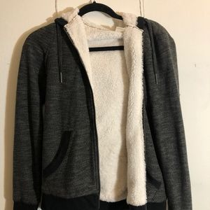 Roxy Faux Fur Lined Zip Up Hoodie
